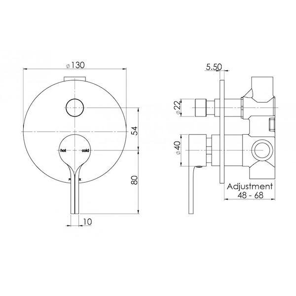 Phoenix Vivid Slimline Oval Shower/Bath Diverter Mixer specs - line drawing and dimensions