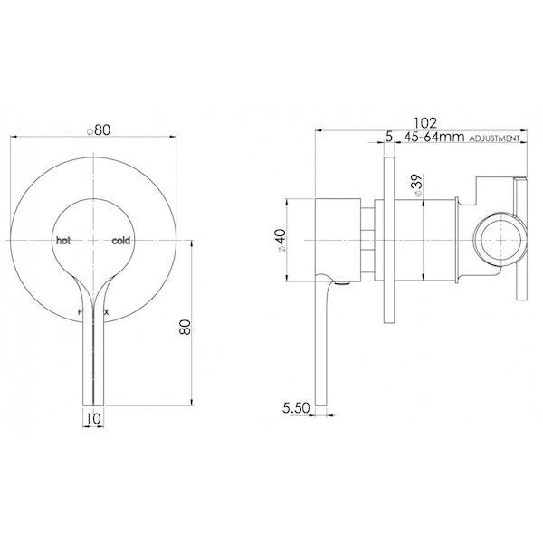 Phoenix Vivid Slimline Oval Shower/Wall Mixer-Chrome specs - line drawing and dimensions