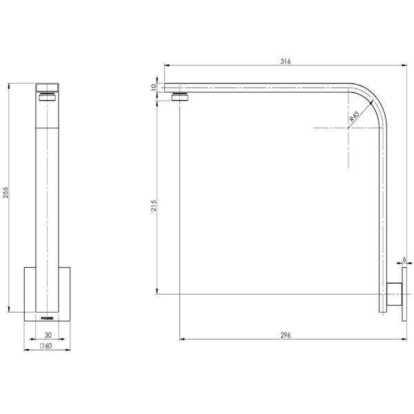 Phoenix Vivid Slimline Shower Arm 30 X 10 mm Square Plate - specs - line drawing and dimensions