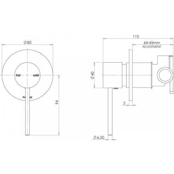 Phoenix Vivid Slimline Shower/Wall Mixer-Chrome - specs - line drawing and dimensions