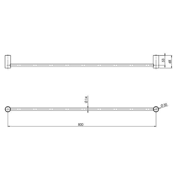 Phoenix Vivid Slimline Single Towel Rail 800mm Technical Drawing - The Blue Space