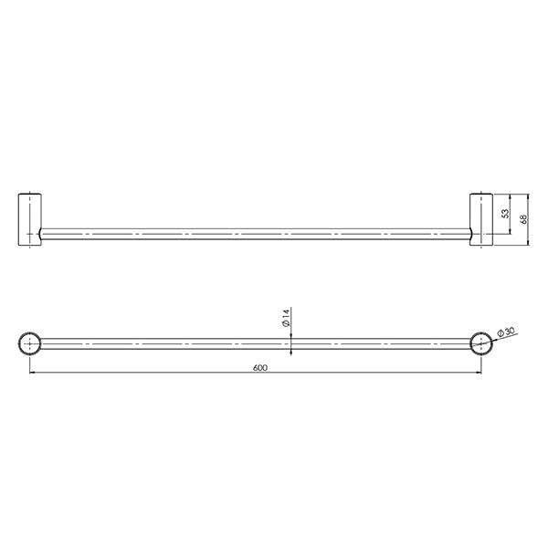 Phoenix Vivid Slimline Single Towel Rail 600mm Technical Drawing - The Blue Space