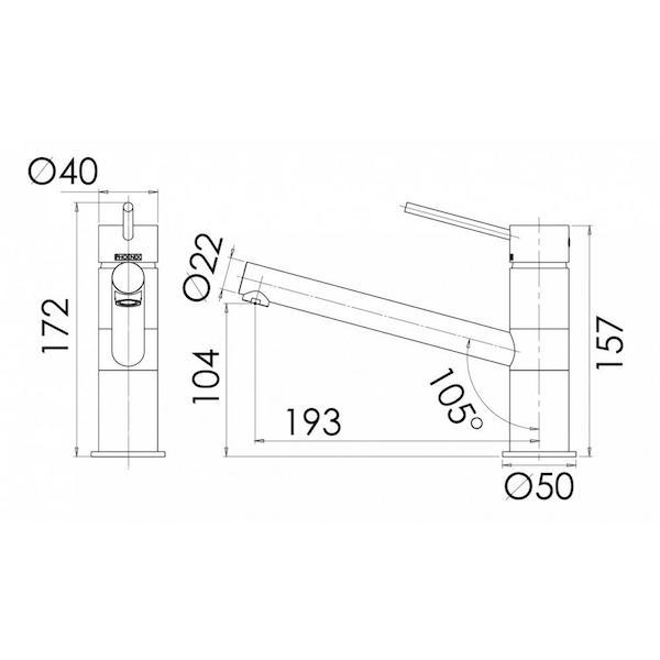 Phoenix Vivid Slimline Sink Mixer specs- line drawing and dimensions