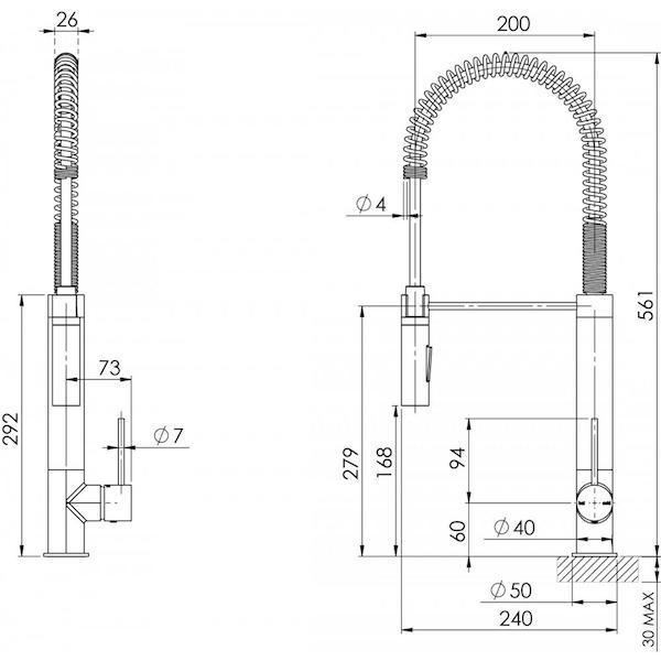 Phoenix Vivid Slimline Tall Spring Sink Mixer specs- line drawing and dimensions