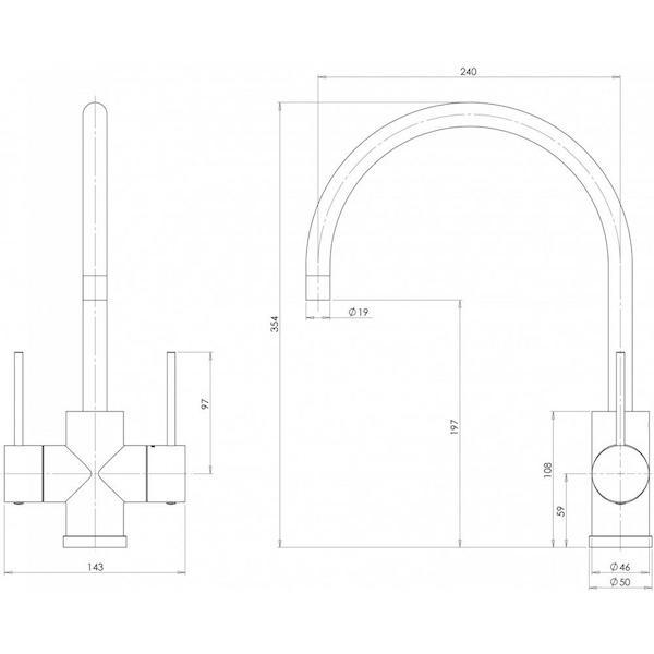 Phoenix Vivid Slimline Twin Handle Sink Mixer 220mm G/N specs- line drawing and dimensions