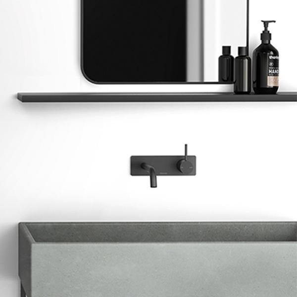 Phoenix Vivid Slimline Up Wall Basin/Bath Mixer Set-Matte Black - installed in bathroom