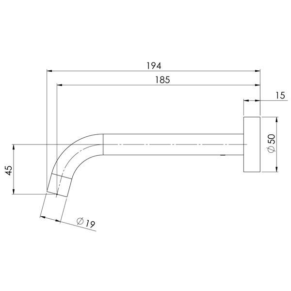 Phoenix Vivid Slimline Wall Bath Outlet 180mm Curved-Brushed Nickel specs- line drawing and dimensions