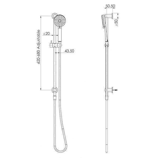 Phoenix Vivid Slimline Water Thru Rail Shower specs - line drawing and dimensions