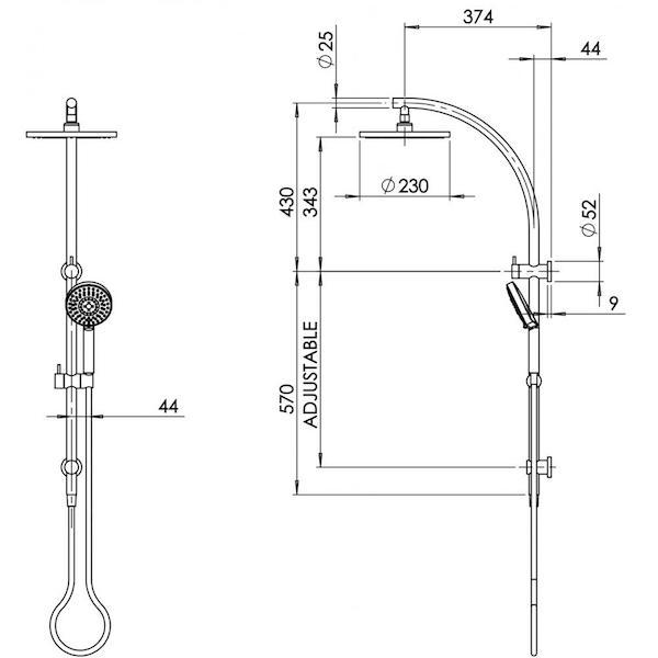 Phoenix Vivid Twin Shower-Matte Black specs - line drawing and dimensions