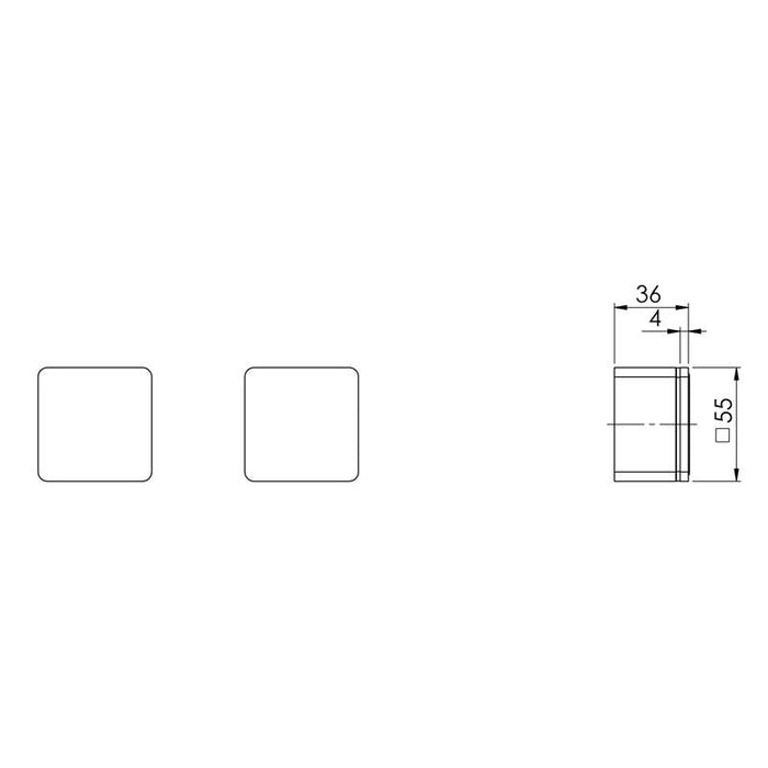 Phoenix Alia Wall Top Assemblies - Brushed Nickel - specs - line drawing and dimensions