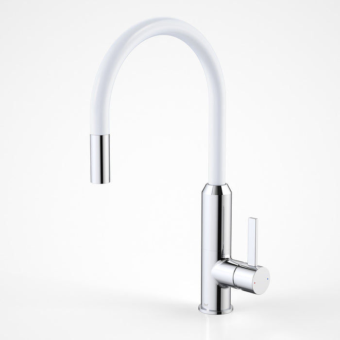 Dorf Vixen Retractable Sink Mixer White - the blue space