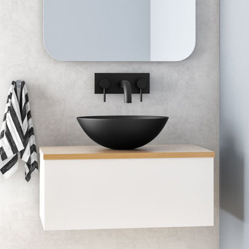 Rifco Sleek Single Vanity with Timber Top & Basin 600mm - 1800mm online at The Blue Space