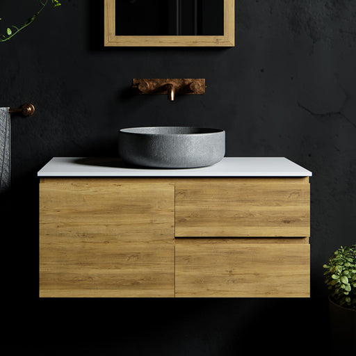 Rifco Wentworth Timber Vanity 750mm - 1800mm with 12mm Solid Surface Top & Above Counter Basin