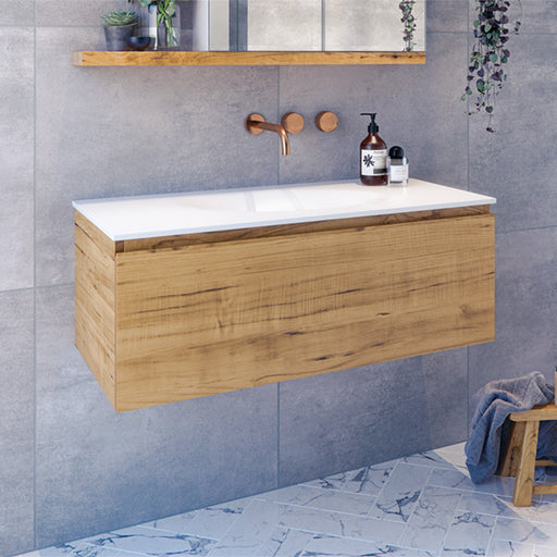 Rifco Genesis Timber Single Drawer Vanity with Solid Surface Top at The Blue Space