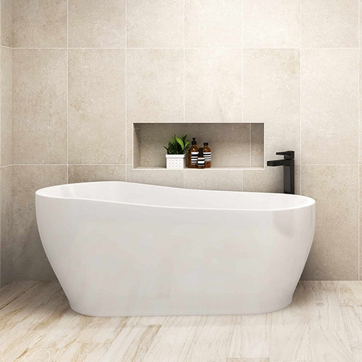 Seima Gyali Freestanding Bath featured in a bathroom with beige tiling