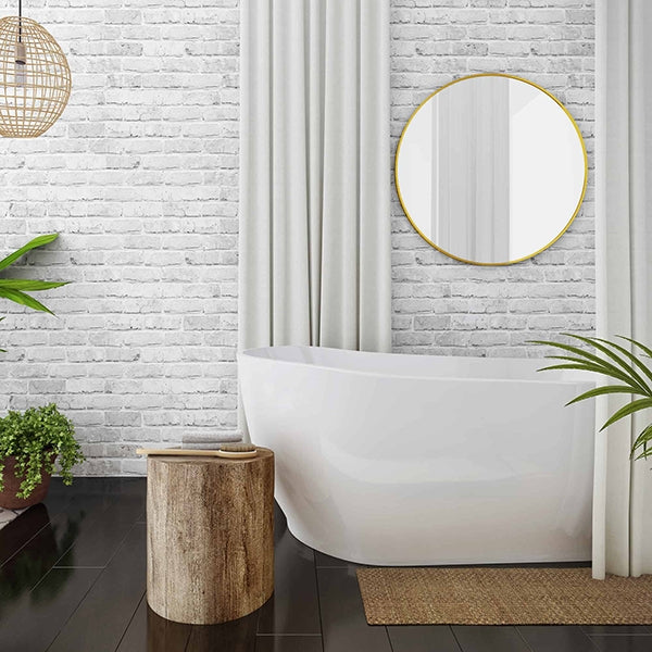 Seima Gyali Freestanding Bath featured in the bathroom with charcoal floor tiles and white wall tiles