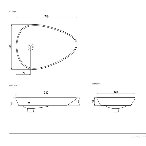 Seima Gyali Organic Above Counter Inset Basin-White Dimensions