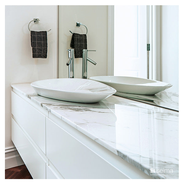 Seima Gyali Organic Above Counter Inset Basin-White featured on a white vanity