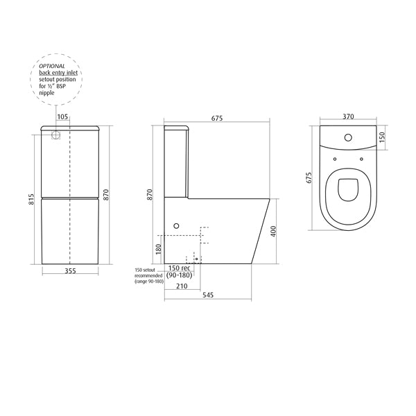 Seima Gyali Rimless Wall Faced Toilet Suite Dimensions