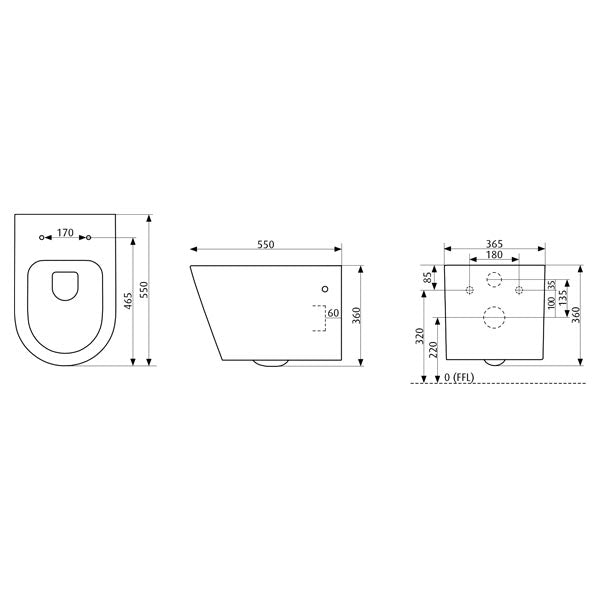 Seima Gyali Rimless Wall Hung InWall Toilet Suite Dimensions