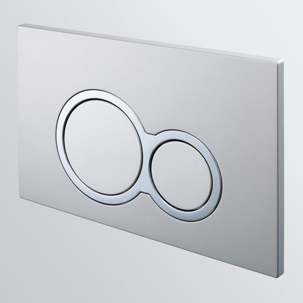 Seima InWall 100 Series Flush Button Plate in a Satin Chrome Finish