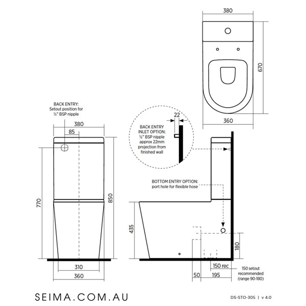 Seima Modia Clean flush Wall Faced Toilet Suite - Slim Seat technical drawings