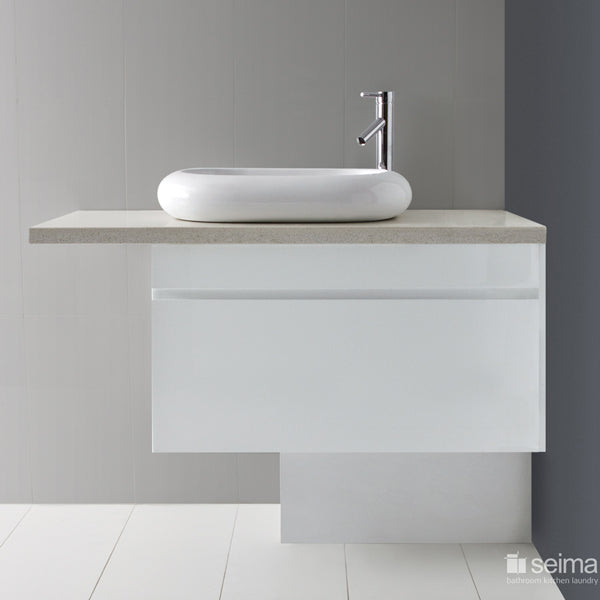Seima Paxi Above Counter Basin Featured on a White Vanity