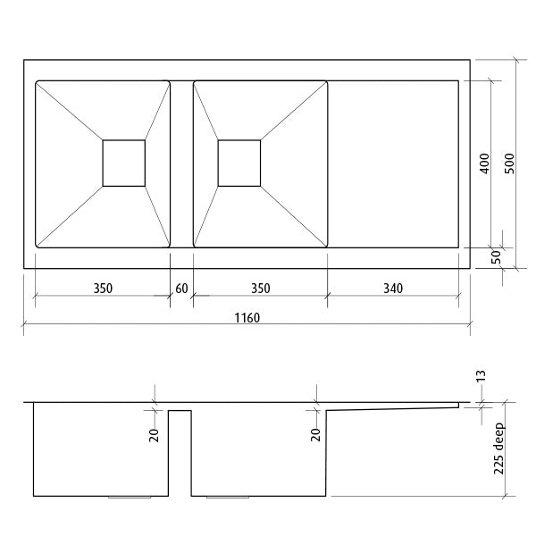 Seima Tetra Pro Double Inset/Undermount Kitchen Sink Dimensions