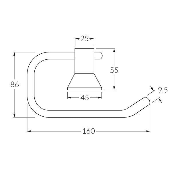 Technical Drawing - Sussex 3001 Toilet Roll Holder