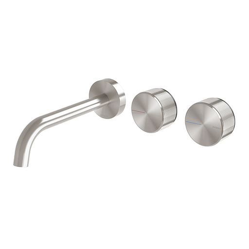 Phoenix Axia Wall Basin/Bath Curved Outlet Hostess Set 180mm Brushed Nickel at The Blue Space