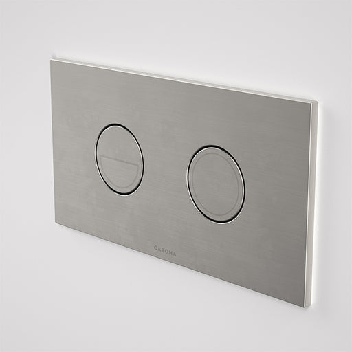 Caroma Invisi Series II Round Dual Flush Plate & Buttons Brushed Nickel - The Blue Space