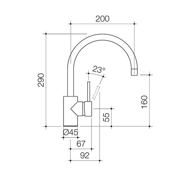 Caroma Pin Lever Sink Mixer Gooseneck Technical Drawing - The Blue Space
