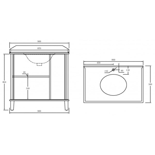 Turner Hastings Coventry 90 x 55 Vanity With White Marble Top Technical Drawing