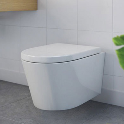 Decina Renee Rimless Wall Hung Toilet Suite with Buttons Lifestlye Image - The Blue Space