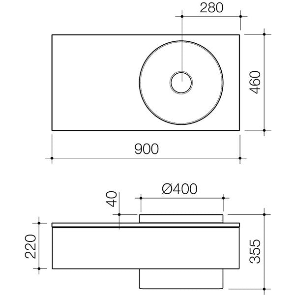 Caroma Elvire 900mm Wall Basin 0 Tapholes Left Shelf - Technical Drawing - The Blue Space