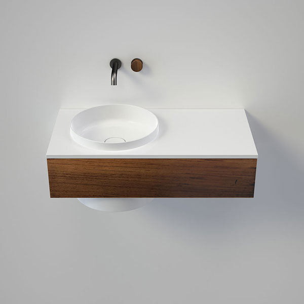 Caroma Elvire 900mm Wall Basin 0 Tapholes Right Shelf  - Tasmanian Blackwood - The Blue Space