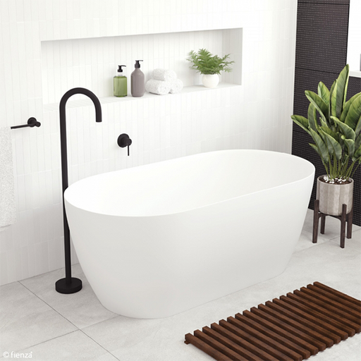 Fienza Kaya Slim Wall Matte White Stone Bath 1500mm - The Blue Space