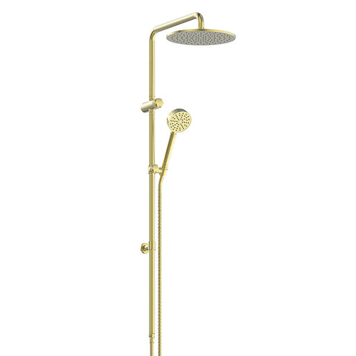 Greens Textura Twin Rail Shower Brushed Brass - The Blue Space