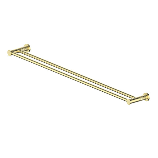 Greens Textura Double Towel Rail 762mm Brushed Brass - The Blue Space