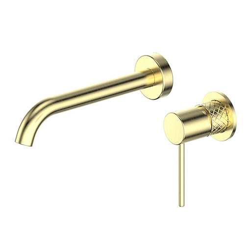 Greens Textura Basin/Bath Mixer Set Brushed Brass - The Blue Space