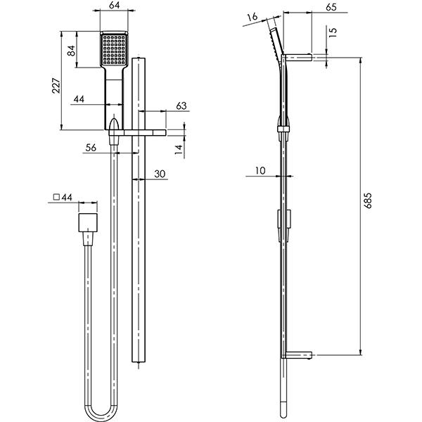 Technical Drawing - Phoenix Lexi Deluxe Rail Shower - Brushed Nickel