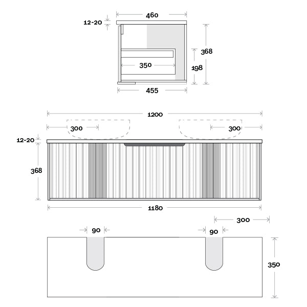 Marquis Cove Wall Hung Vanity 1200mm Double Bowl Technical Drawing - The Blue Space