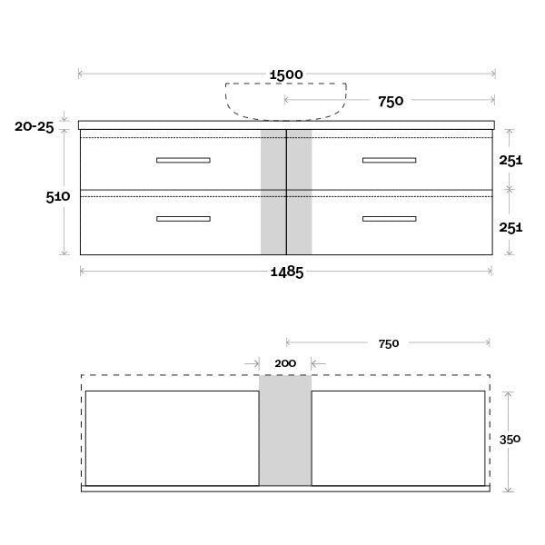 Marquis Marq Wall Hung All-Drawer Vanity 1500mm Single Bowl Technical Drawing - The Blue Space