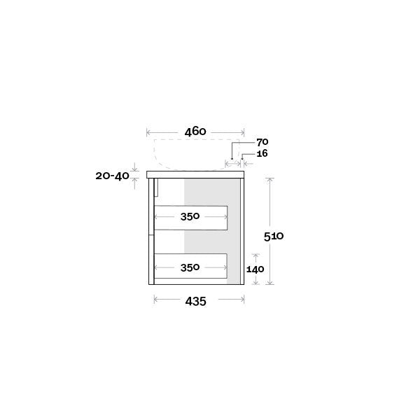 Marquis Marq Wall Hung All-Drawer Vanity Side Profile Technical Drawing - The Blue Space