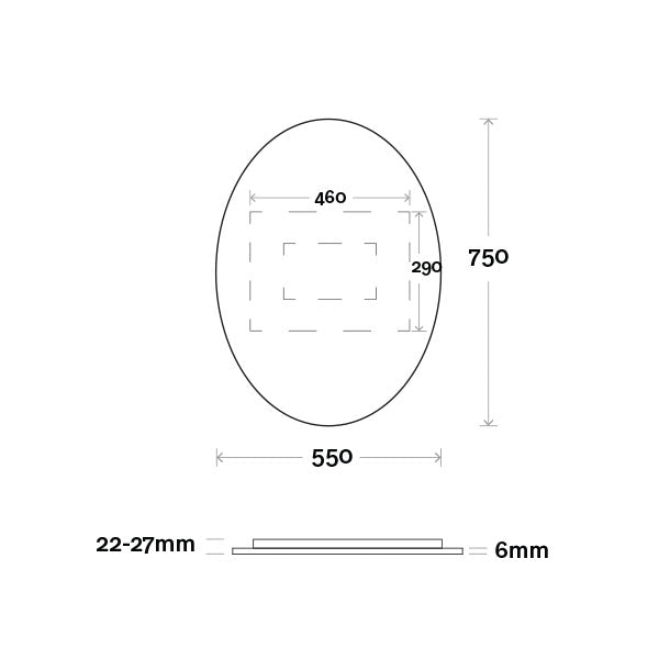 Marquis Oval Mirror 550mm Technical Drawing - The Blue Space