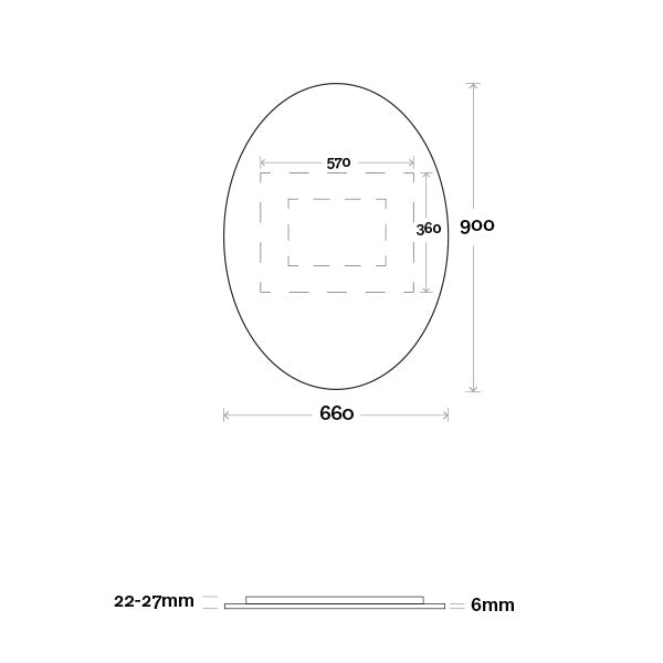 Marquis Oval Mirror 660mm Technical Drawing - The Blue Space