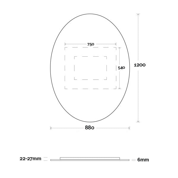 Marquis Oval Mirror 880mm Technical Drawing - The Blue Space