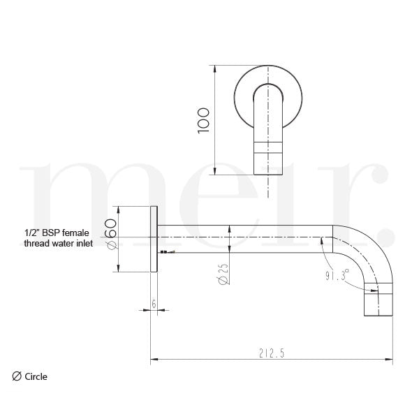 Meir Round Curved Basin Wall Spout Technical Drawing - The Blue Space
