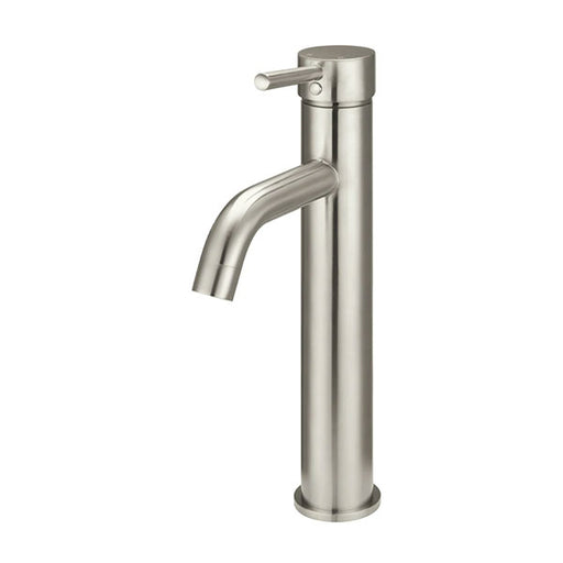 Meir Round Tall Curved Basin Mixer Brushed Nickel - The Blue Space