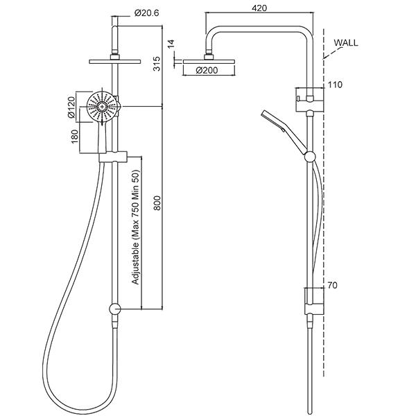 Methven Krome 100 3 Function Twin Shower System The Blue Space - Technical Drawing